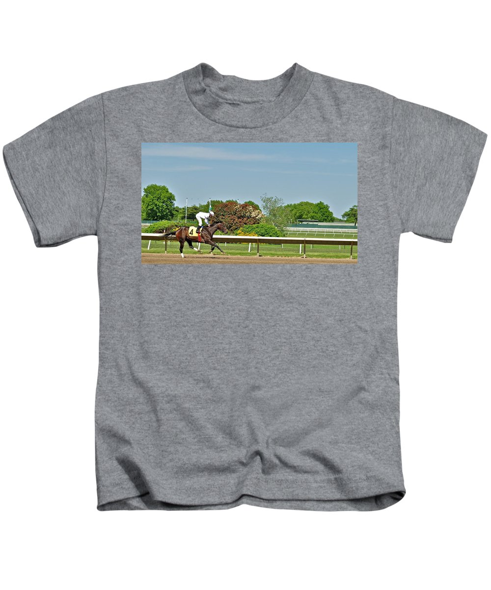 Monmouth Park Kids T-Shirt featuring the photograph The Winner by Catherine Conroy