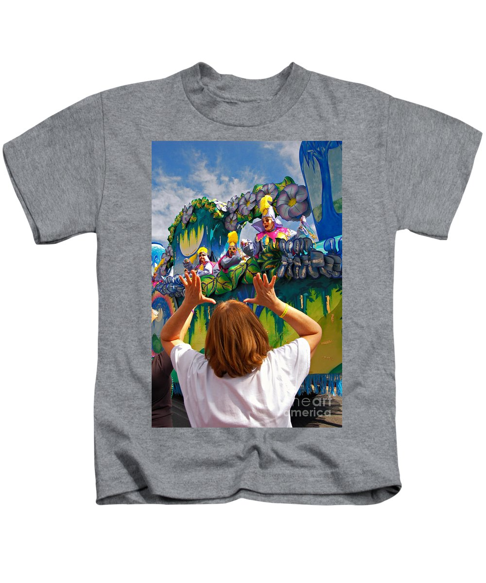 Mardi Gras Kids T-Shirt featuring the photograph Throw Me Something Mister by Kathleen K Parker
