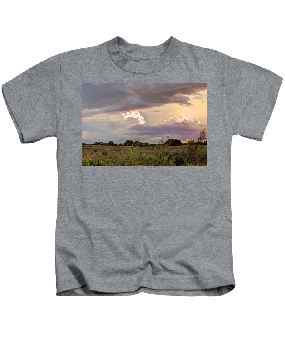 Clouds Kids T-Shirt featuring the photograph Thunderclouds by Beth Gates-Sully