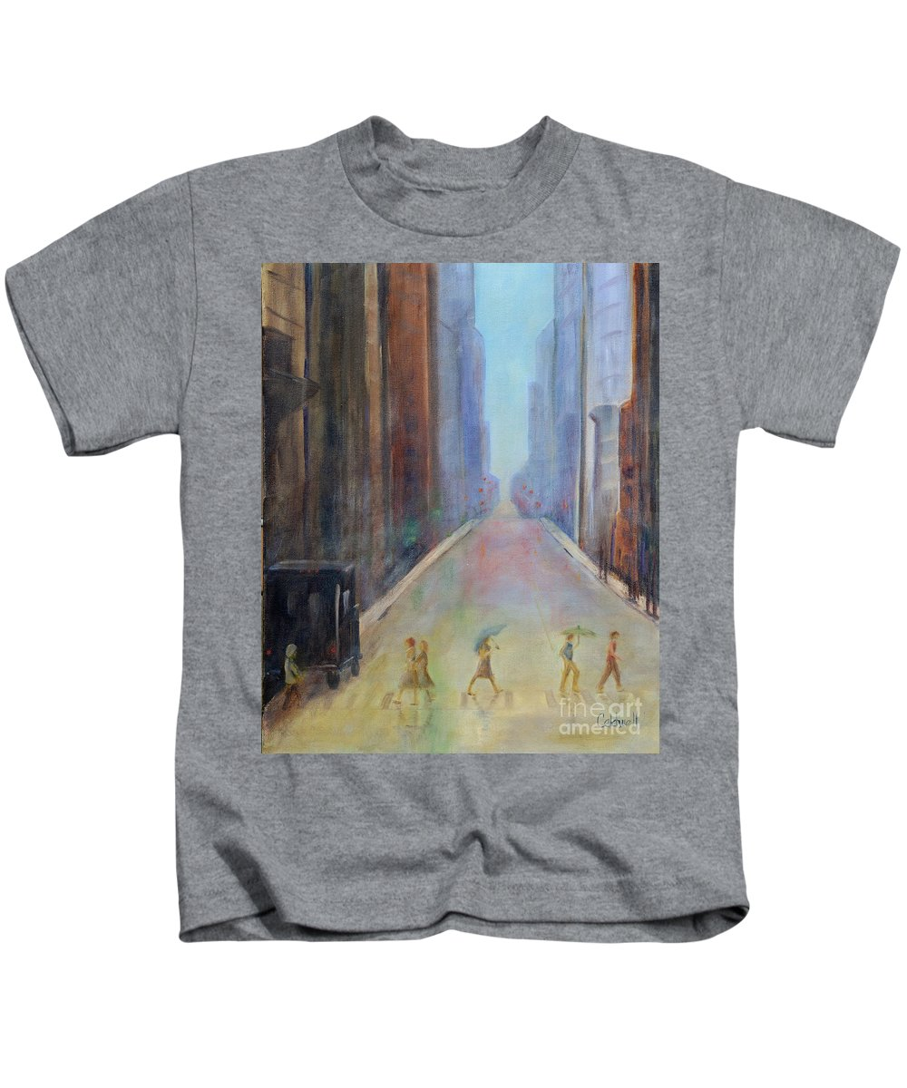 Rain People Street Scene New York Building Red Green Light Skyscraper Reflection Umbrella Walking Crosswalk Storefront Thunderstorm Kids T-Shirt featuring the painting Thunderstorm by Patricia Caldwell