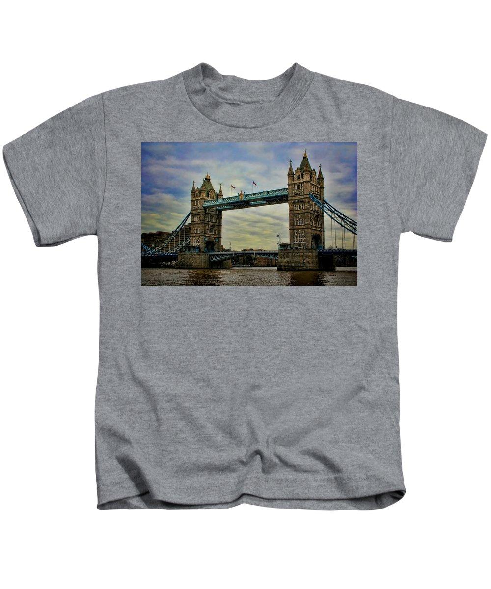 Tower Bridge Kids T-Shirt featuring the photograph Tower Bridge London by Heather Applegate