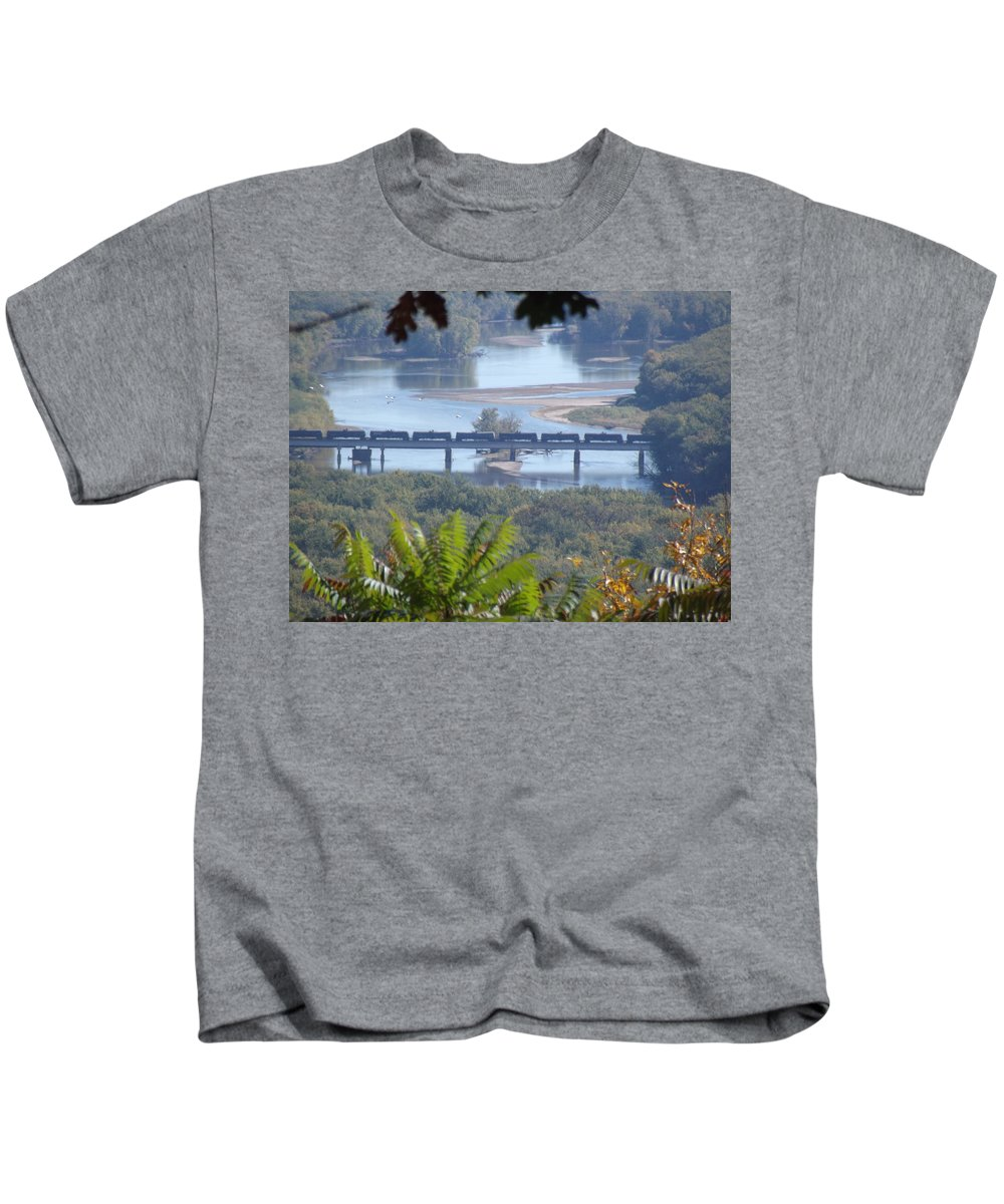 Train Kids T-Shirt featuring the photograph Train On The Mississippi by Bonfire Photography