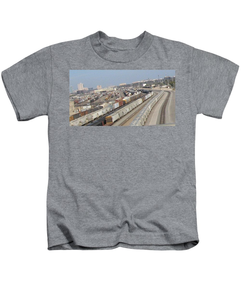 Kids T-Shirt featuring the photograph Trains Trains Trains by Amy Hosp