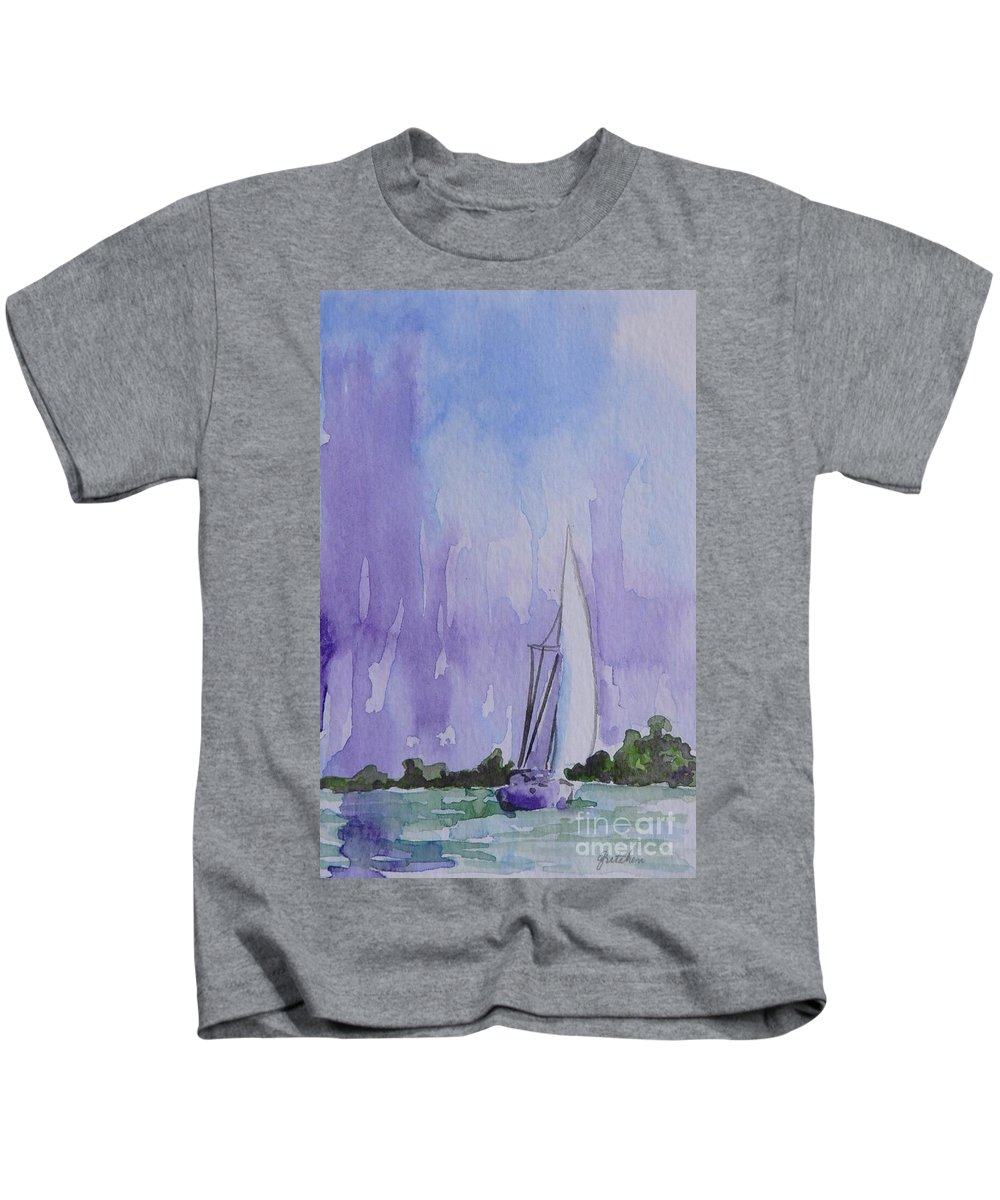 Sailboat Kids T-Shirt featuring the painting Tranquility by Gretchen Bjornson