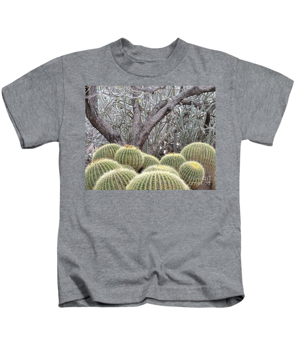 Cactus Kids T-Shirt featuring the photograph Tree And Barrel Cactus by Rebecca Margraf