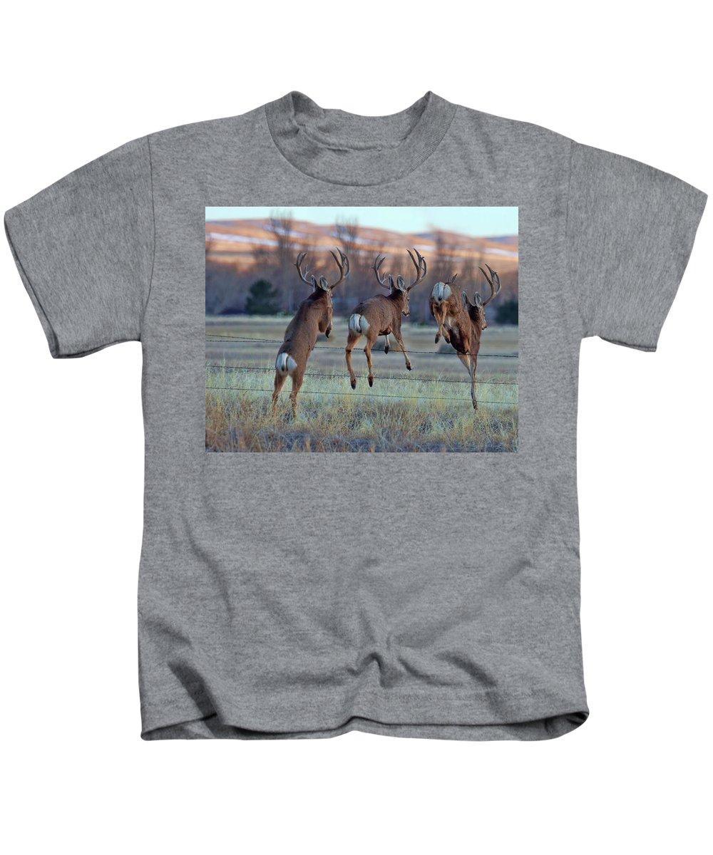 Deer Jumping Phoograph Kids T-Shirt featuring the photograph Triple Play by Jim Garrison