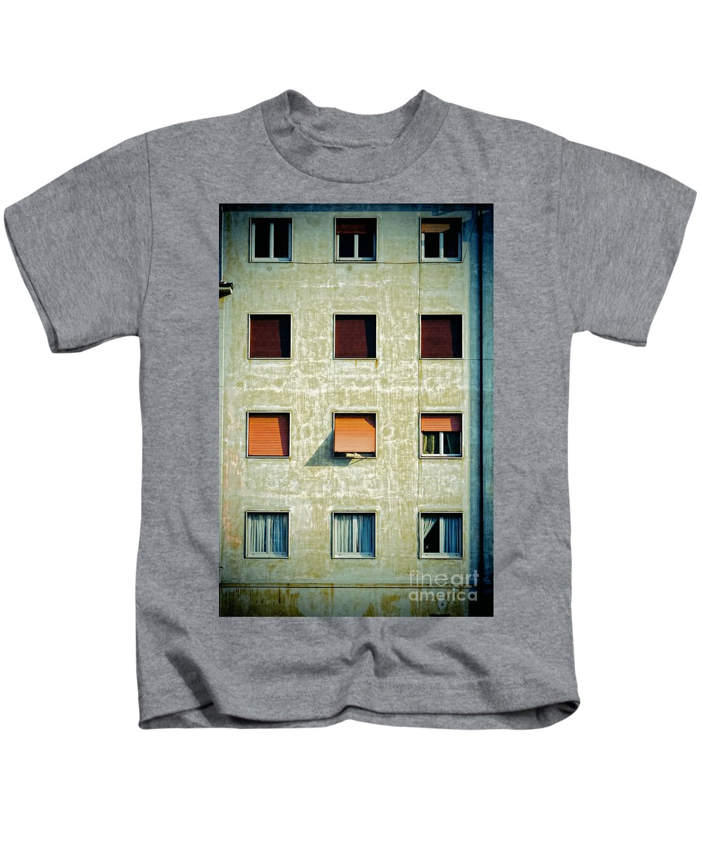 Facade Kids T-Shirt featuring the photograph Twelve Windows by Silvia Ganora