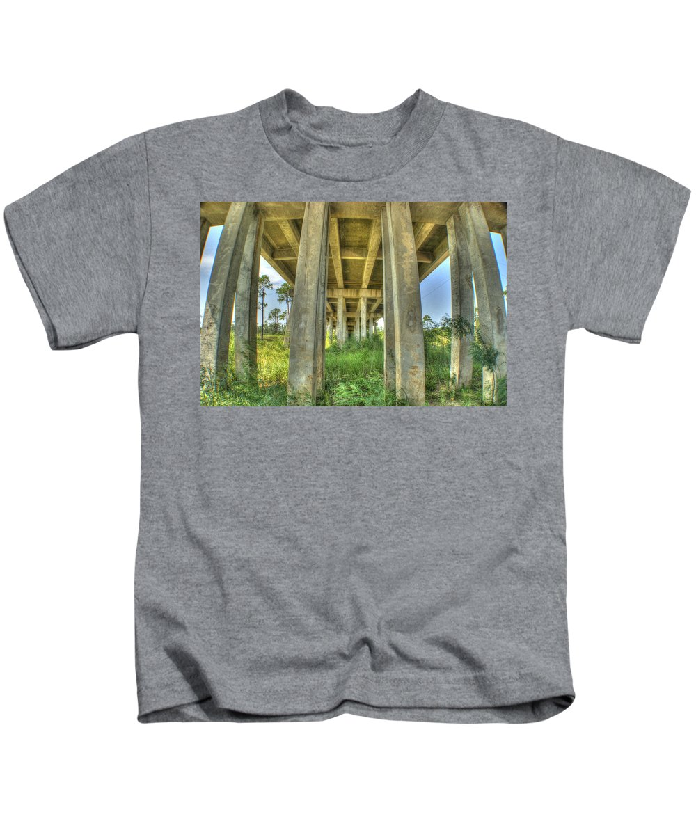 Bridge Kids T-Shirt featuring the photograph Under The Bridge by Beth Gates-Sully