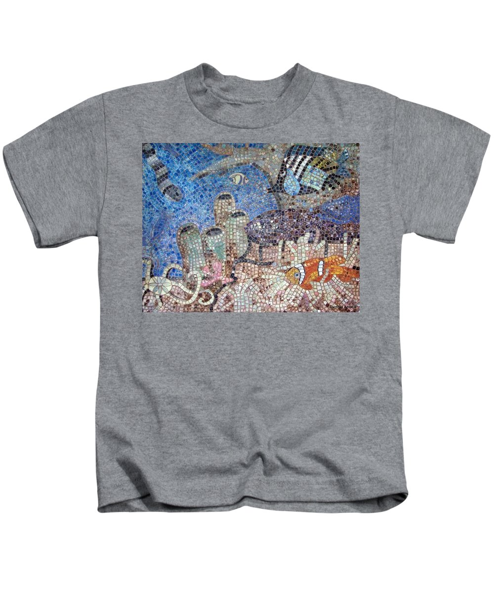 Mosaic Kids T-Shirt featuring the painting Under The Sea by Cynthia Amaral