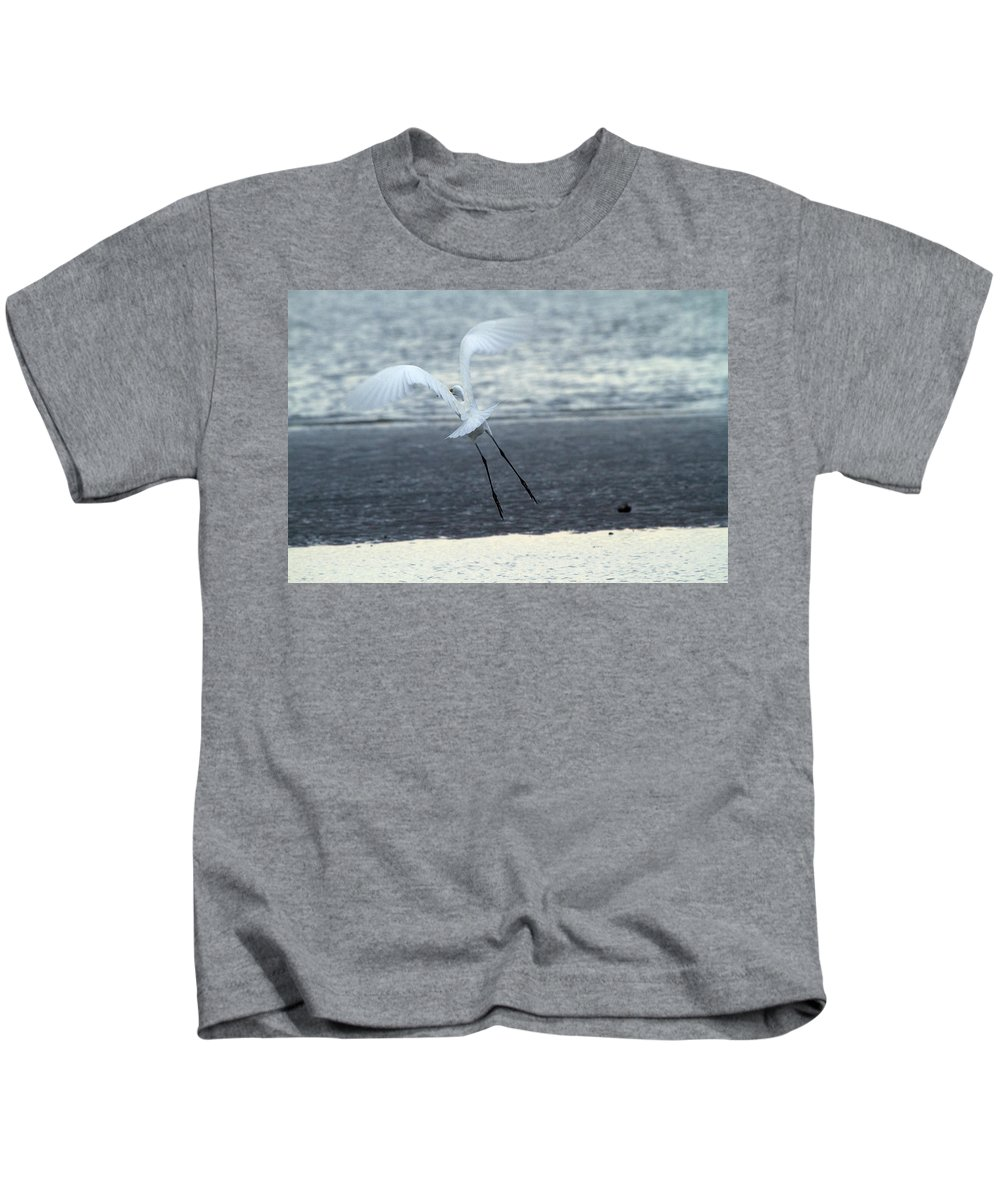 Egret Kids T-Shirt featuring the photograph Up And Away by Karol Livote