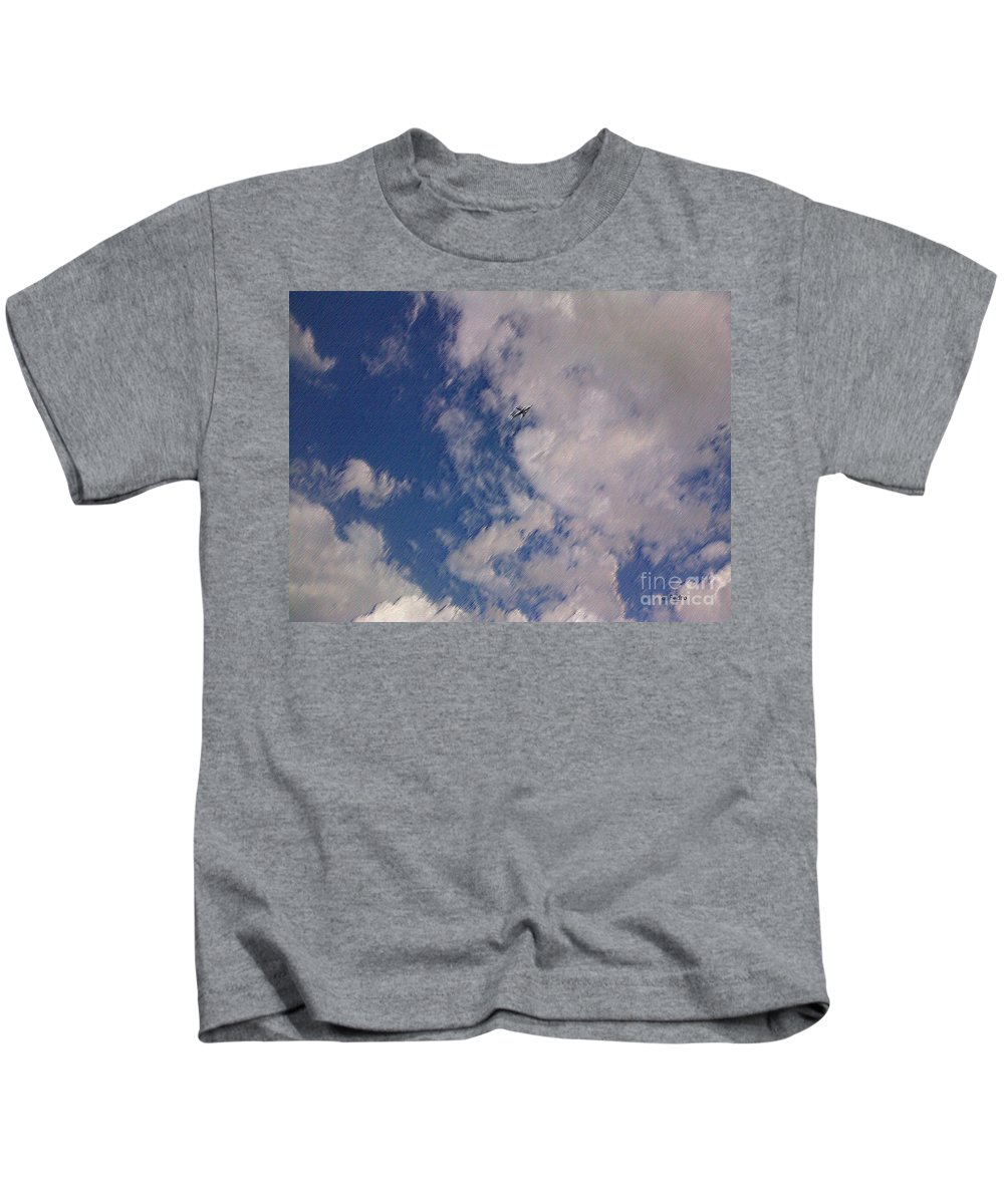 Plane Kids T-Shirt featuring the photograph Up In The Clouds 3 by George Pedro