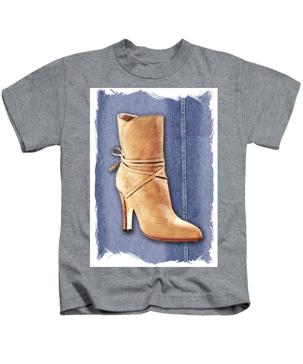 Shoes Heels Pumps Fashion Designer Feet Foot Shoe Stilettos Painting Paintings Illustration Illustrations Sketch Sketches Drawing Drawings Pump Stiletto Fetish Designer Fashion Boot Boots Footwear Sandal Sandals High+heels High+heel Women's+shoes Graphic Sophisticated Elegant Modern Kids T-Shirt featuring the painting Urban Cowgirl Suede Boots by Elaine Plesser