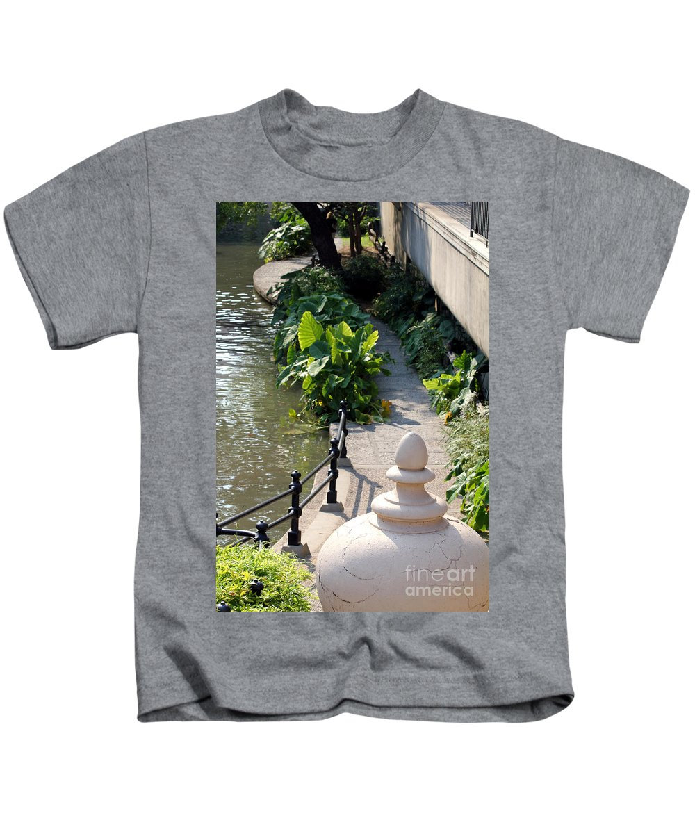 Urn Kids T-Shirt featuring the photograph Urn And Pathway by Alycia Christine
