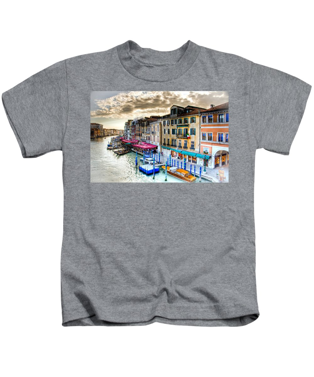 Venice Canal Kids T-Shirt featuring the photograph Venice Canal Taxi by Jon Berghoff