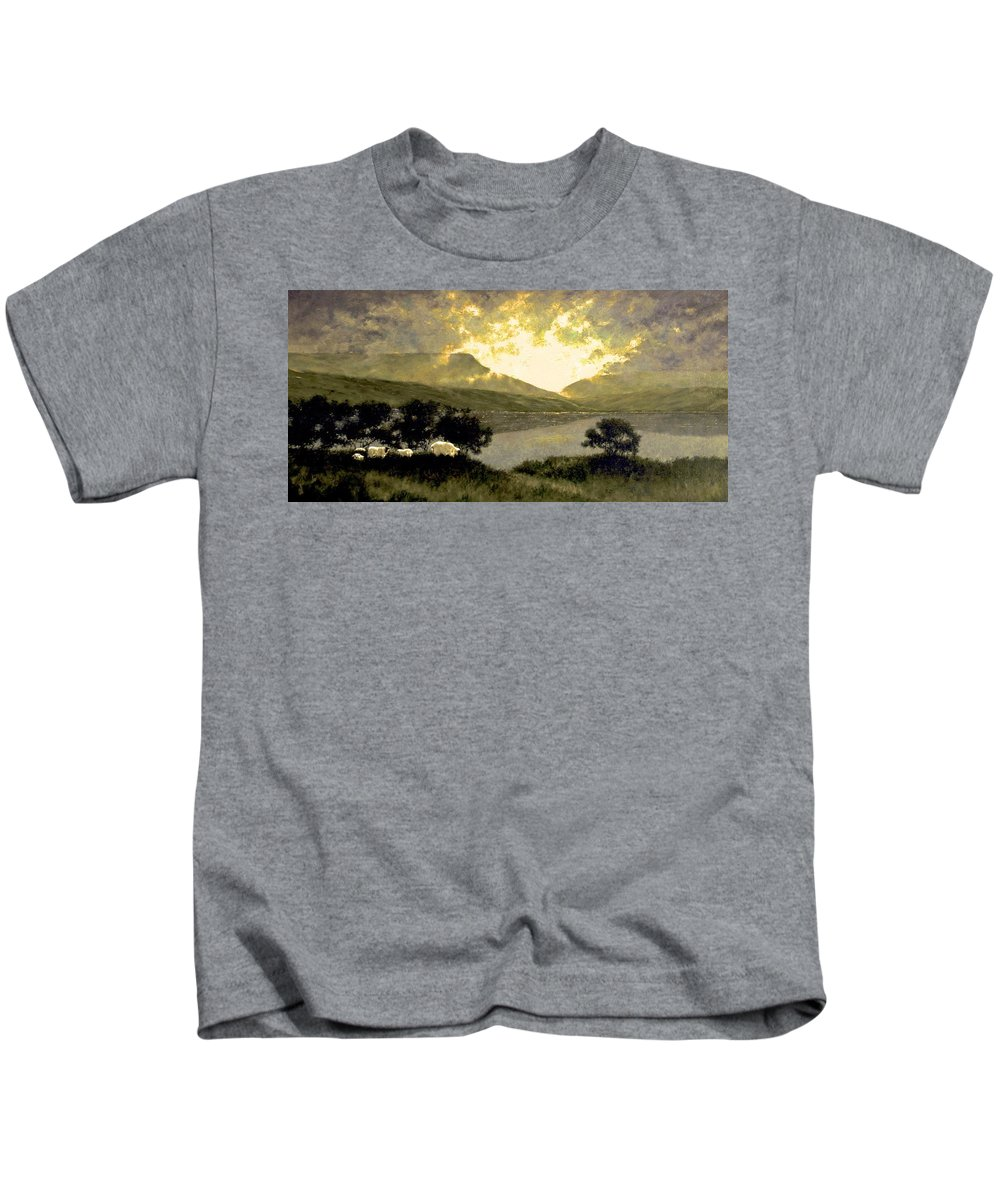 Oil Kids T-Shirt featuring the painting View of Ben Bulben by Jim Gola