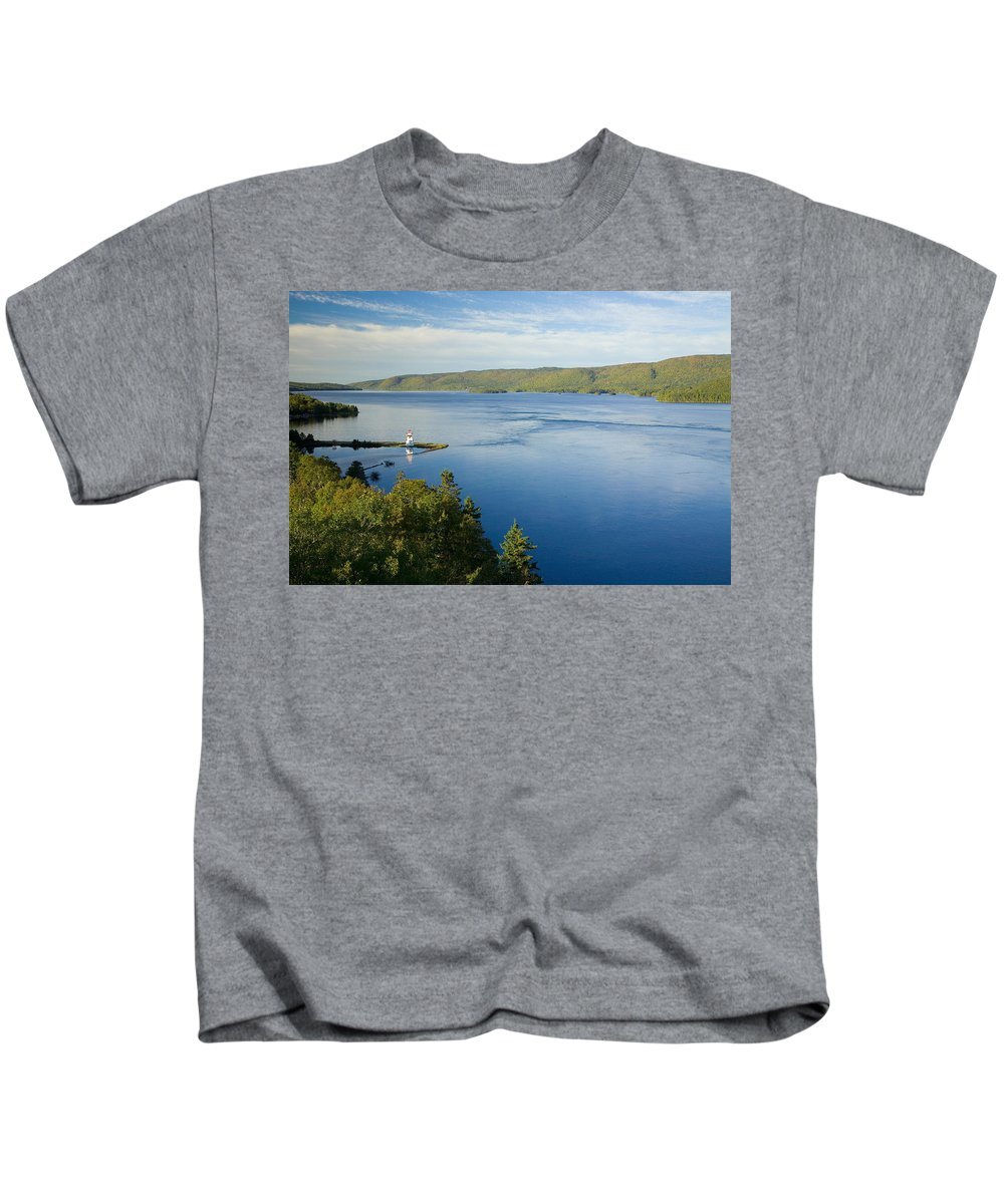 Bras Dor Lake Kids T-Shirt featuring the photograph View Of Boulardarie Island From Seal by John Sylvester