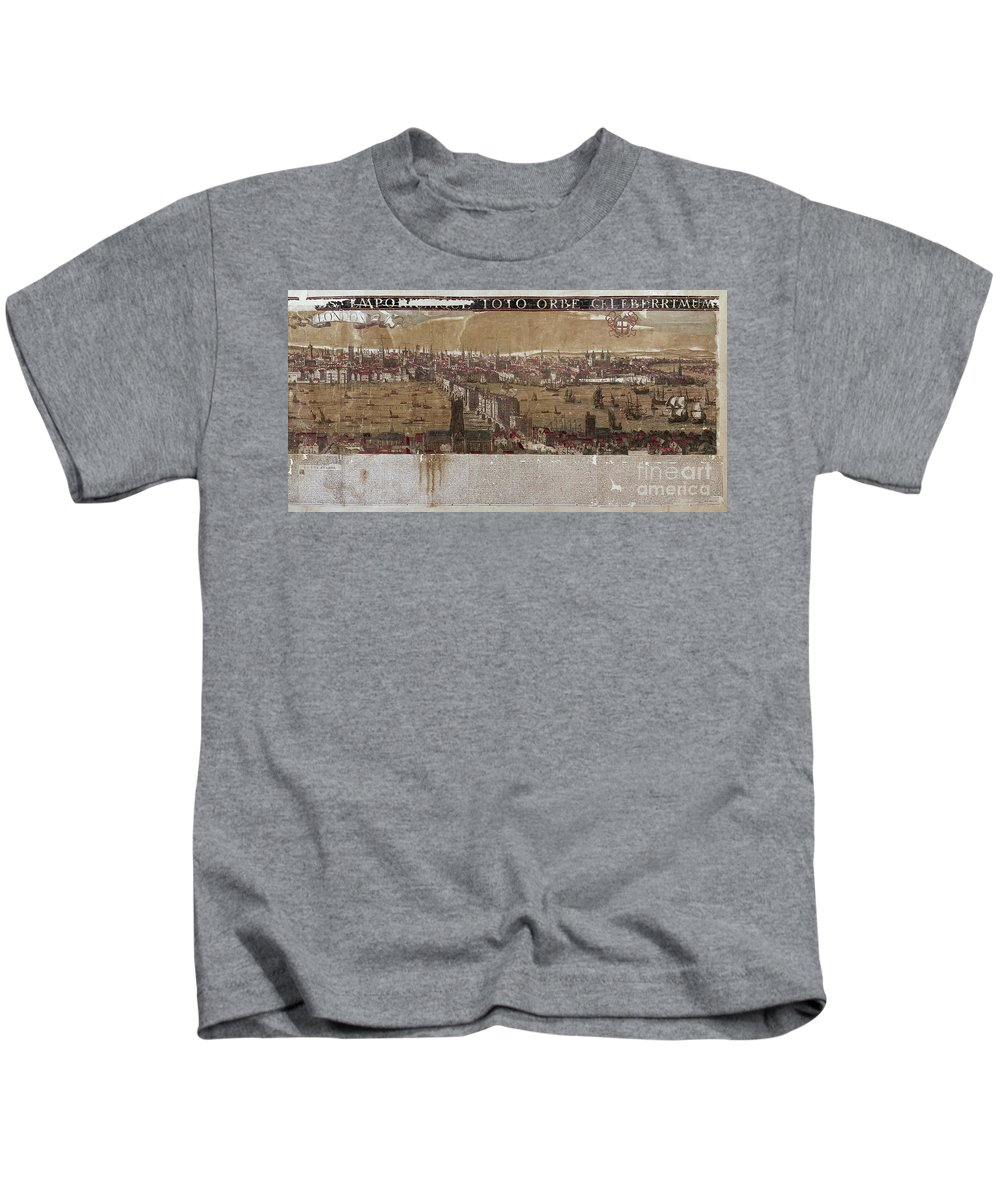 1650 Kids T-Shirt featuring the photograph Visscher: London, 1650 by Granger