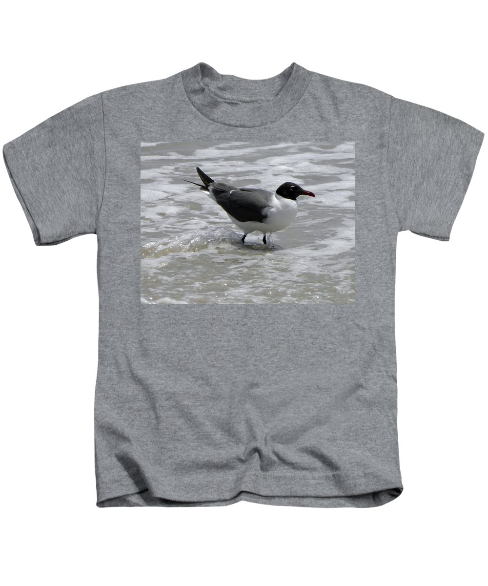 Seagull Kids T-Shirt featuring the photograph Wading by Sandi OReilly