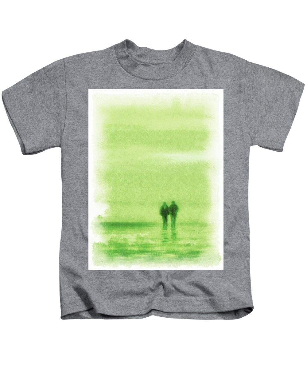 High Key Kids T-Shirt featuring the photograph Walking On Green by Steve Taylor