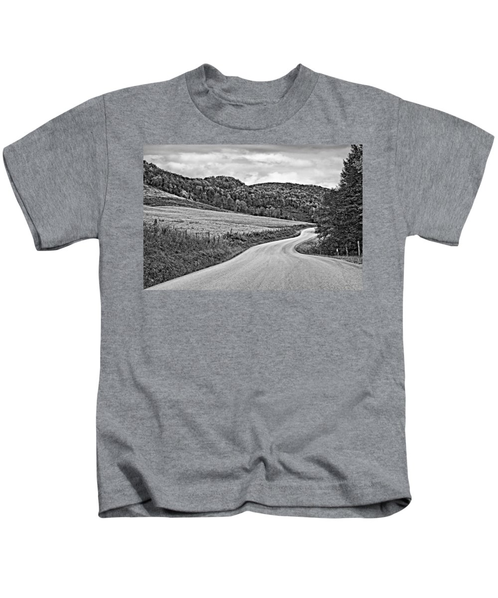 West Virginia Kids T-Shirt featuring the photograph Wandering In West Virginia Monochrome by Steve Harrington