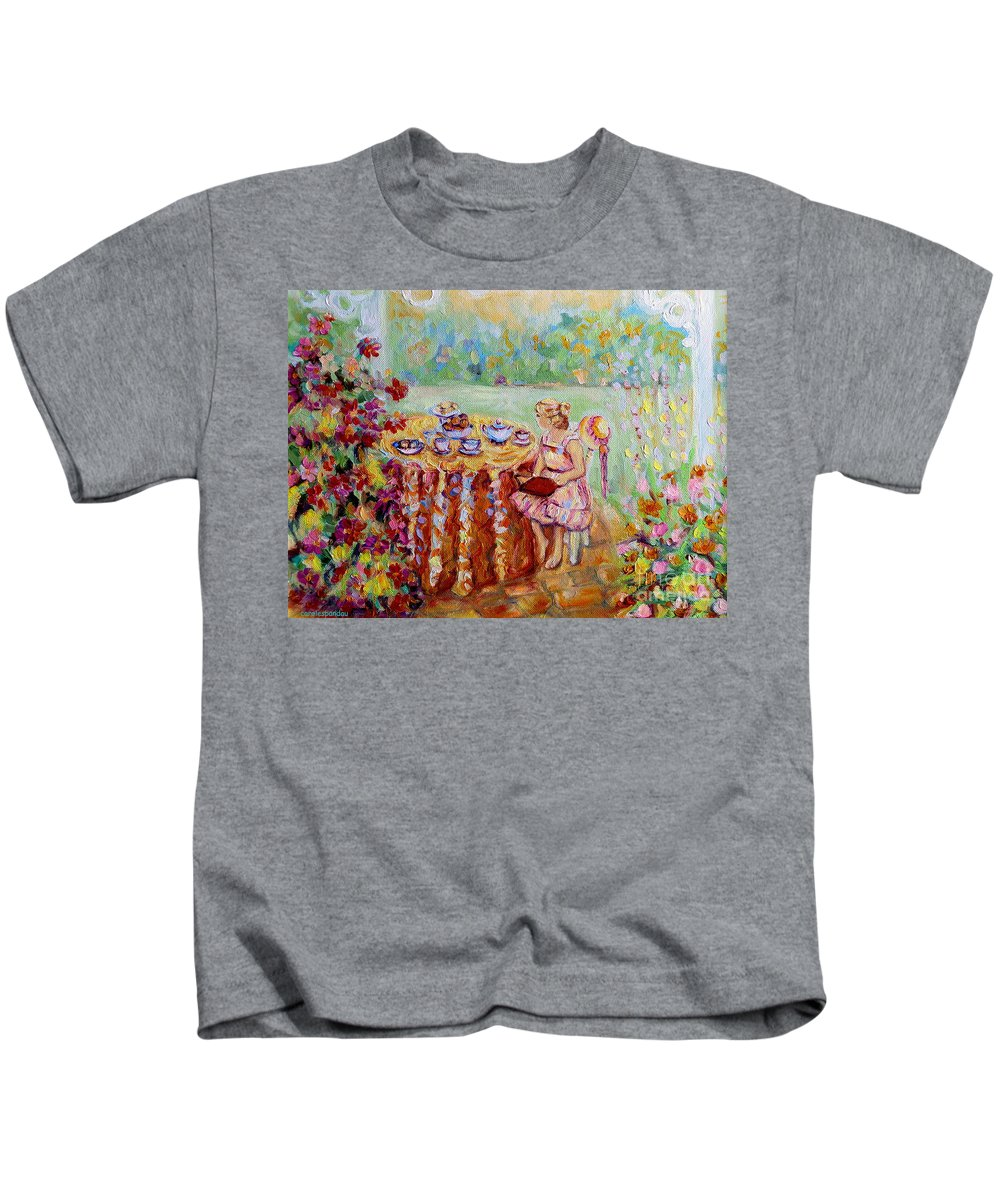 Montreal Kids T-Shirt featuring the painting Westmount Garden Montreal City Scene by Carole Spandau