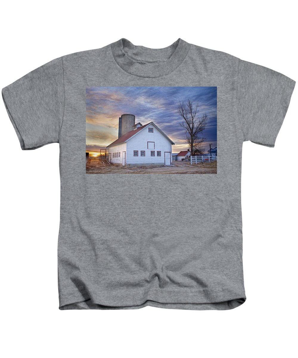 Cool Kids T-Shirt featuring the photograph White Barn Sunrise by James BO Insogna