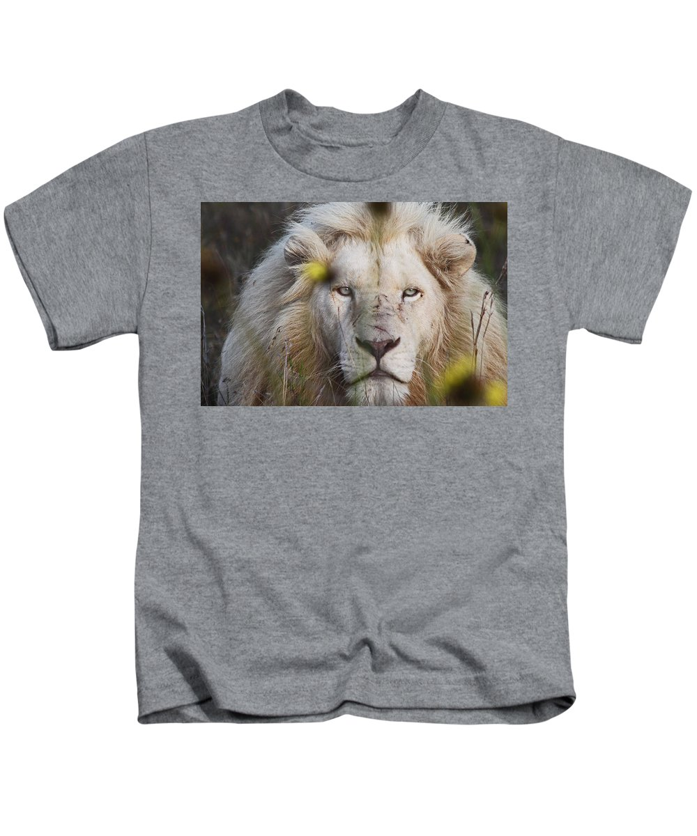 White Lion Kids T-Shirt featuring the photograph White Lion And Yellow Flowers by James Hill