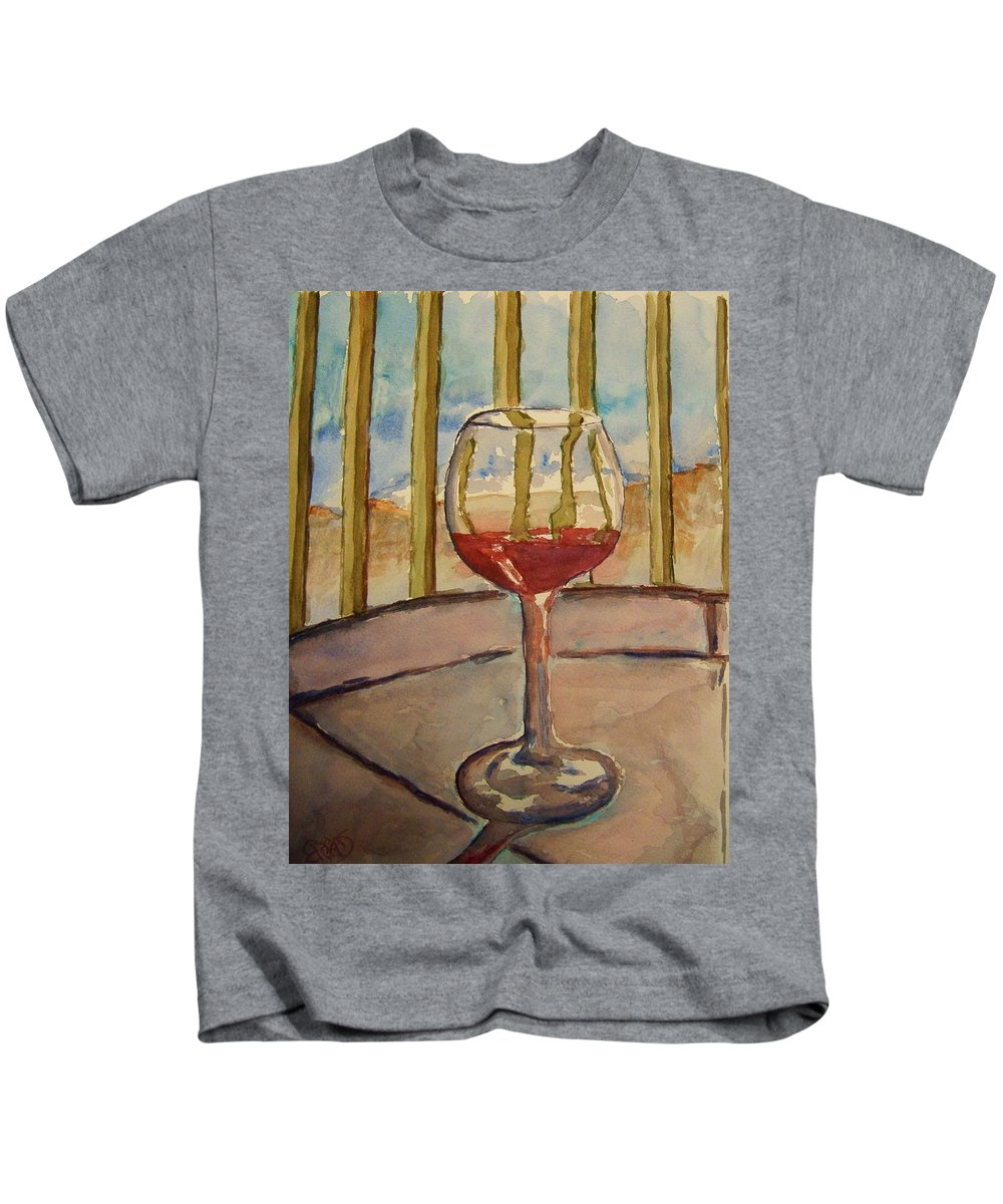 Red Wine Kids T-Shirt featuring the painting Wine By The Water by Elaine Duras
