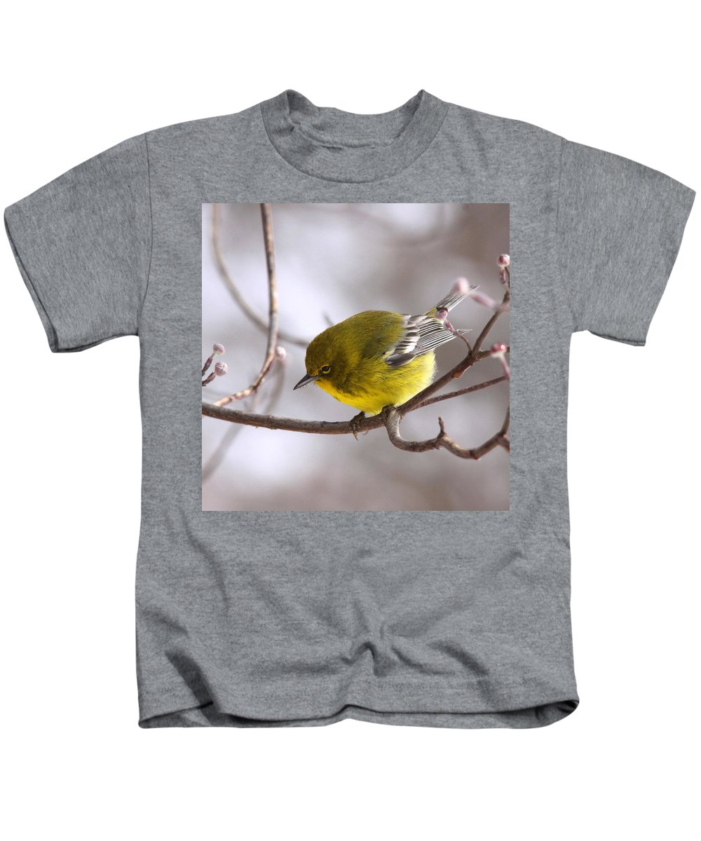 Pine Warbler Kids T-Shirt featuring the photograph Wingbars Of White by Travis Truelove