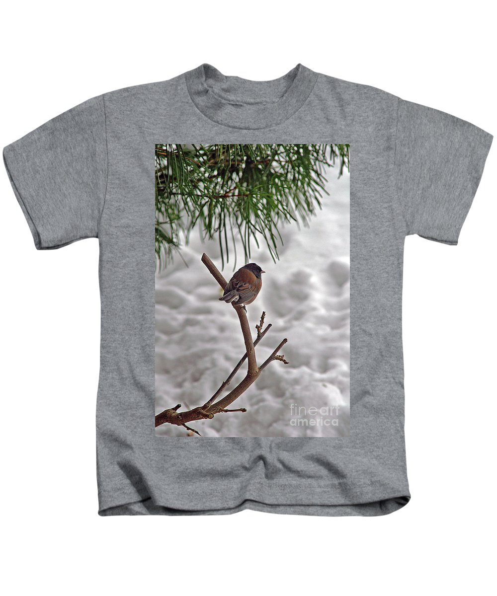 Birds Kids T-Shirt featuring the photograph Winter Bird by Randy Harris