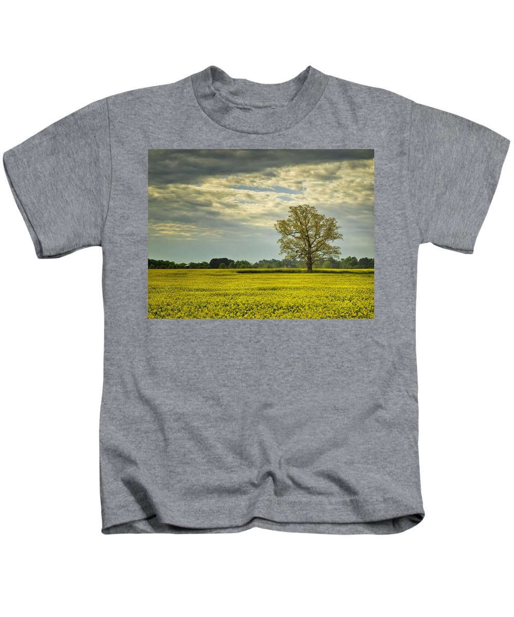Landscape Kids T-Shirt featuring the photograph Yellow Meadow by Fran Gallogly