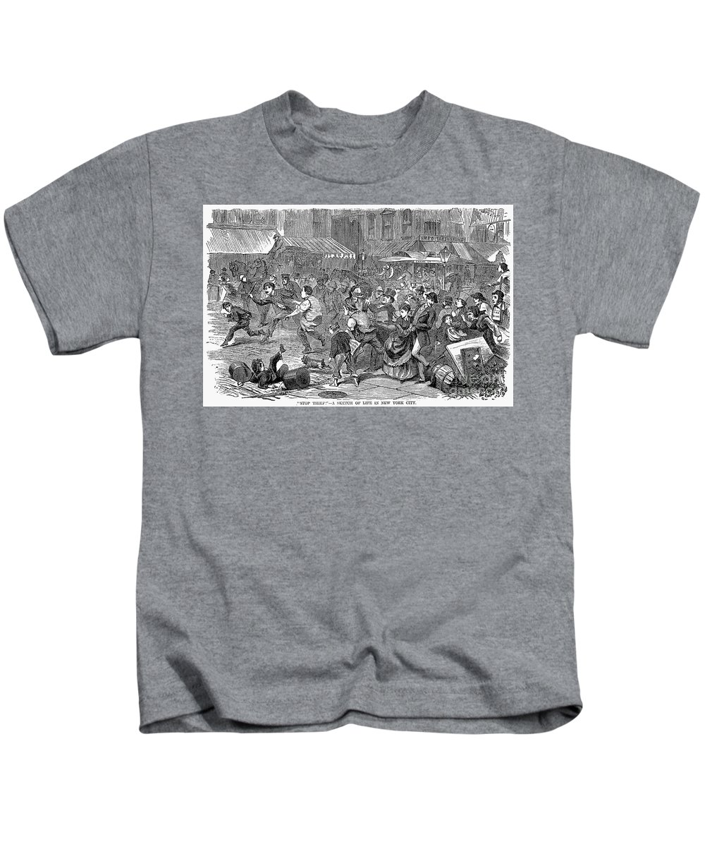 1868 Kids T-Shirt featuring the photograph Young Thief, 1868 by Granger