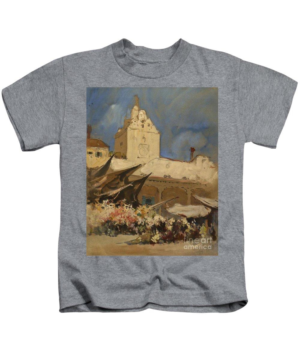 Hercules Brabazon Brabazon (1821-1906) A Venetian Flower Market Kids T-Shirt featuring the painting A Venetian Flower Market by MotionAge Designs