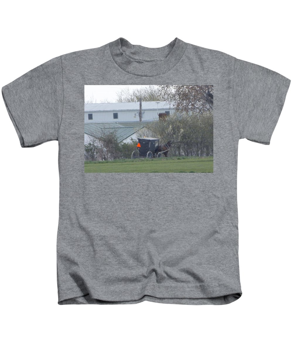 Amish Kids T-Shirt featuring the photograph Country Ride by Shutter Print