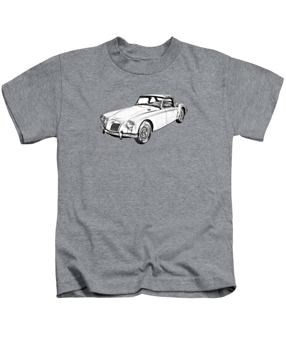 Vehicle Kids T-Shirt featuring the photograph Mg Convertible Sports Car Illustration by Keith Webber Jr