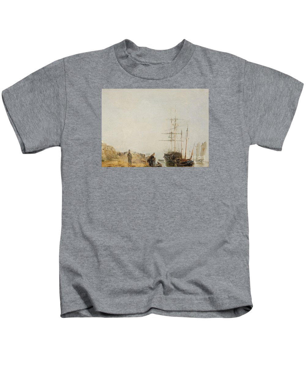 Theodore Gudin Kids T-Shirt featuring the painting Sailing Ships By A Jetty by MotionAge Designs