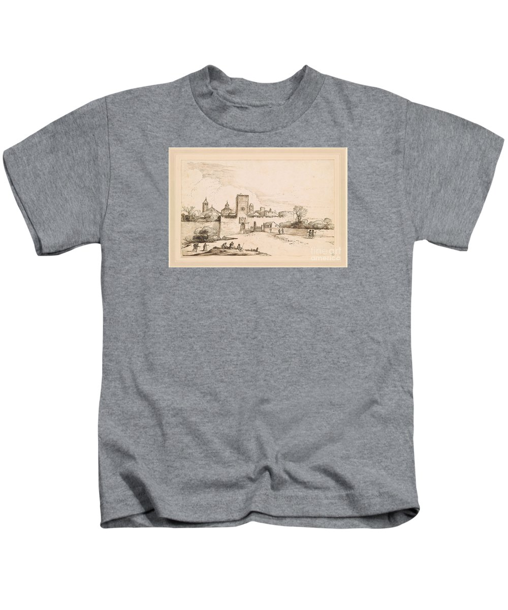 Giovanni Francesco Barbieri Kids T-Shirt featuring the painting View Of A Walled Town by MotionAge Designs