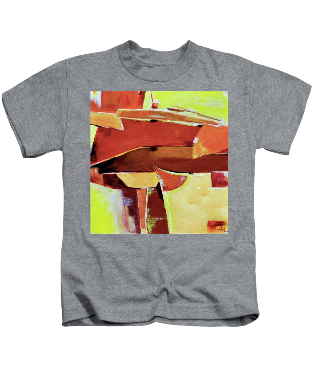 Artdeco Kids T-Shirt featuring the painting Abstract 11 by Anil Nene