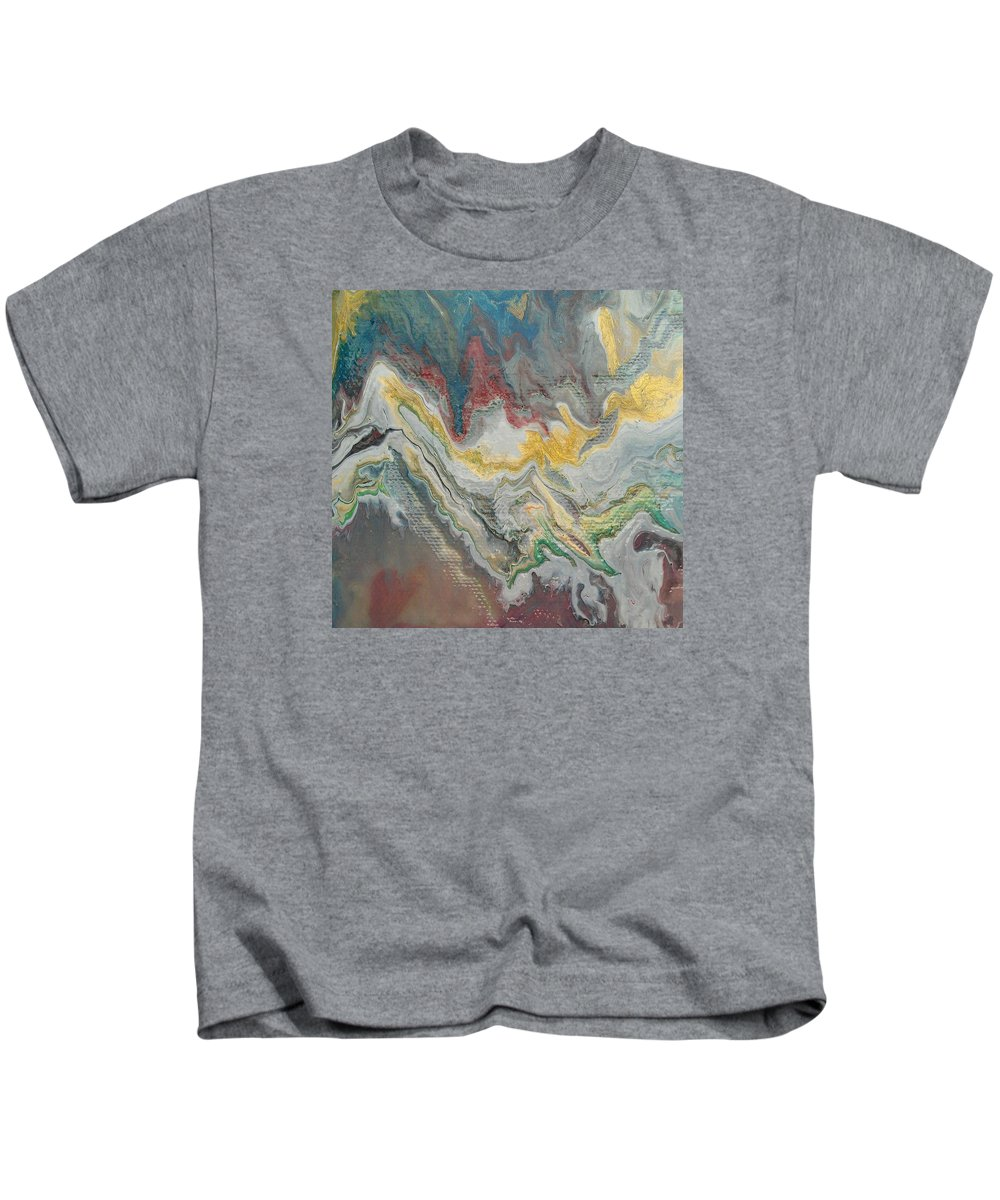 Abstract Kids T-Shirt featuring the painting Abstract Pour by Sonya Wilson