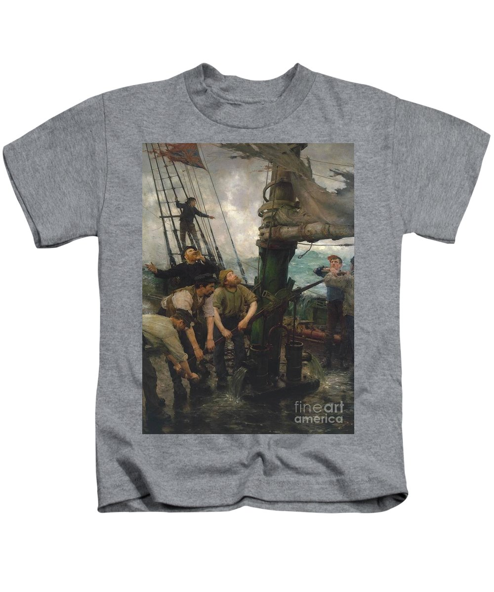 Henry Scott Tuke Kids T-Shirt featuring the painting All Hands To The Pumps by MotionAge Designs