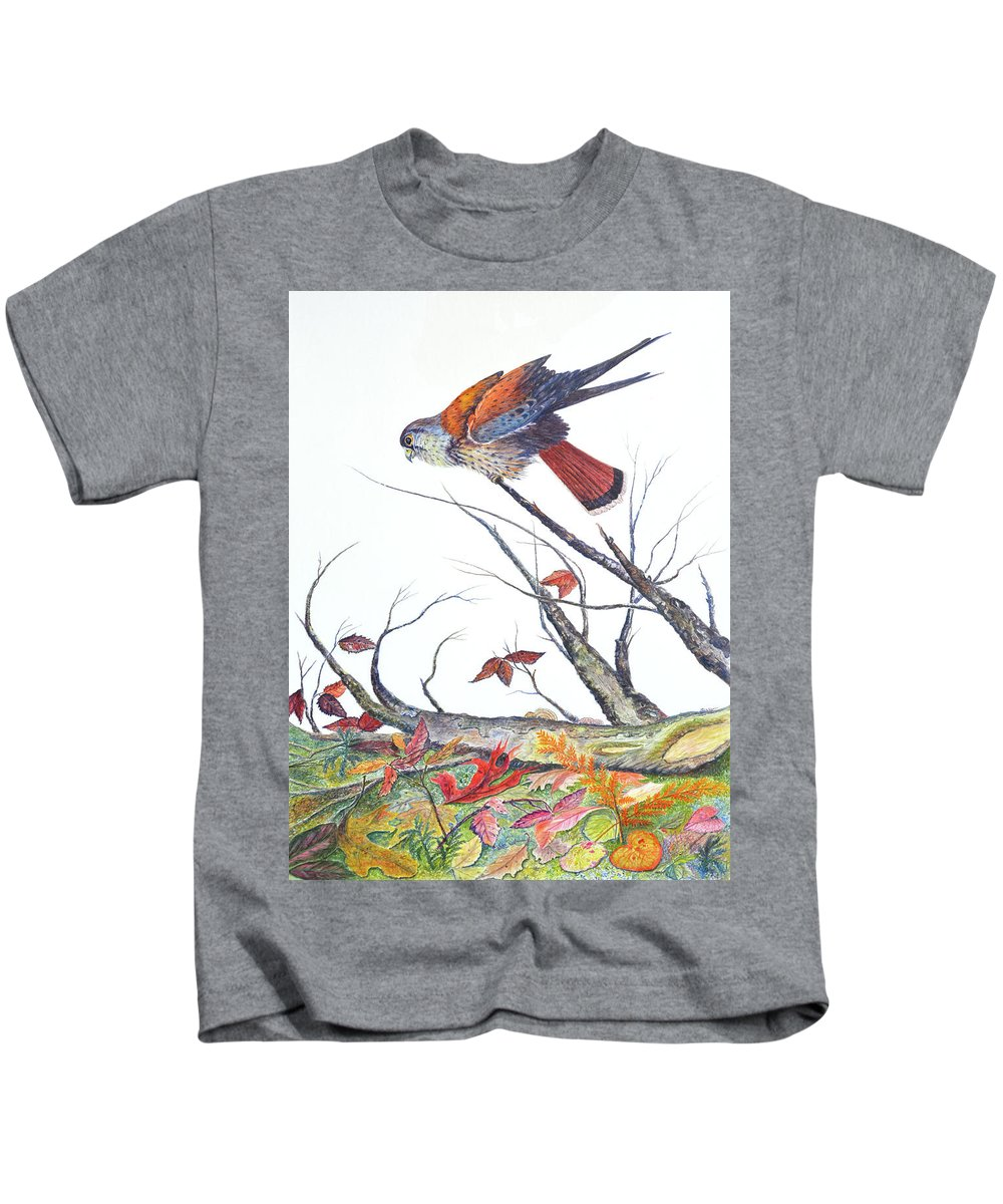 Bird Kids T-Shirt featuring the painting American Kestrel by Ben Kiger