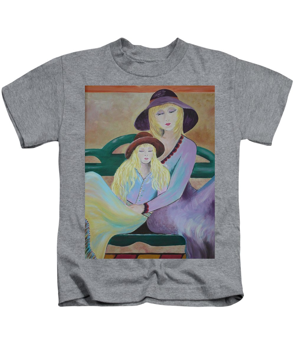 Mother/daughter Kids T-Shirt featuring the painting Angel Face by Kris Crollard
