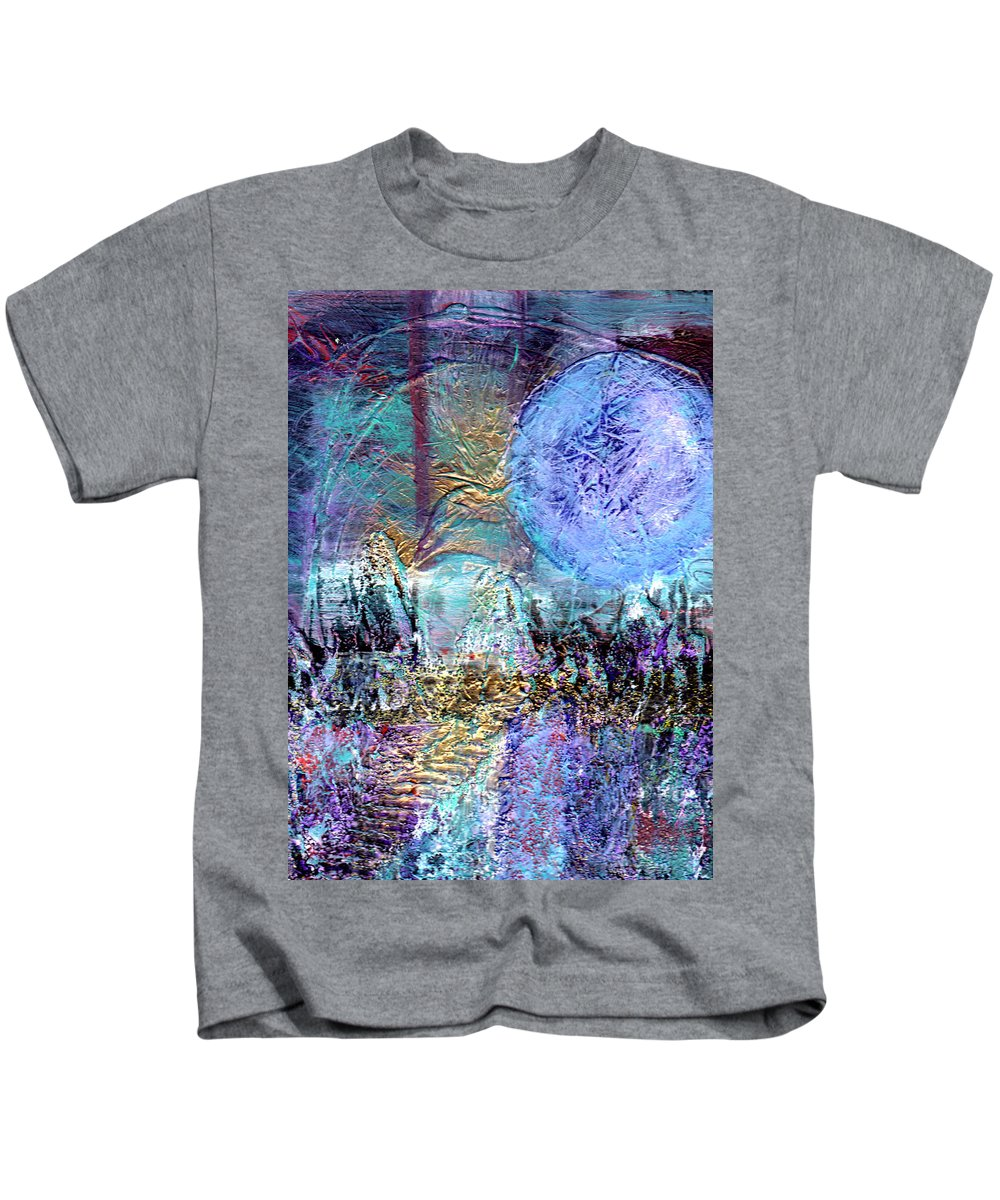 Abstract Kids T-Shirt featuring the painting Another World by Wayne Potrafka