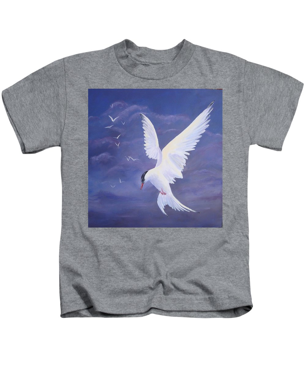 Arctic Tern Kids T-Shirt featuring the painting Arctic Tern by Kathleen Tucker