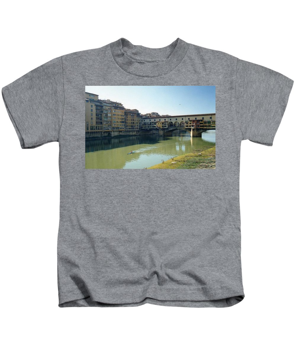 Arno Kids T-Shirt featuring the photograph Arno River In Florence Italy by Marna Edwards Flavell