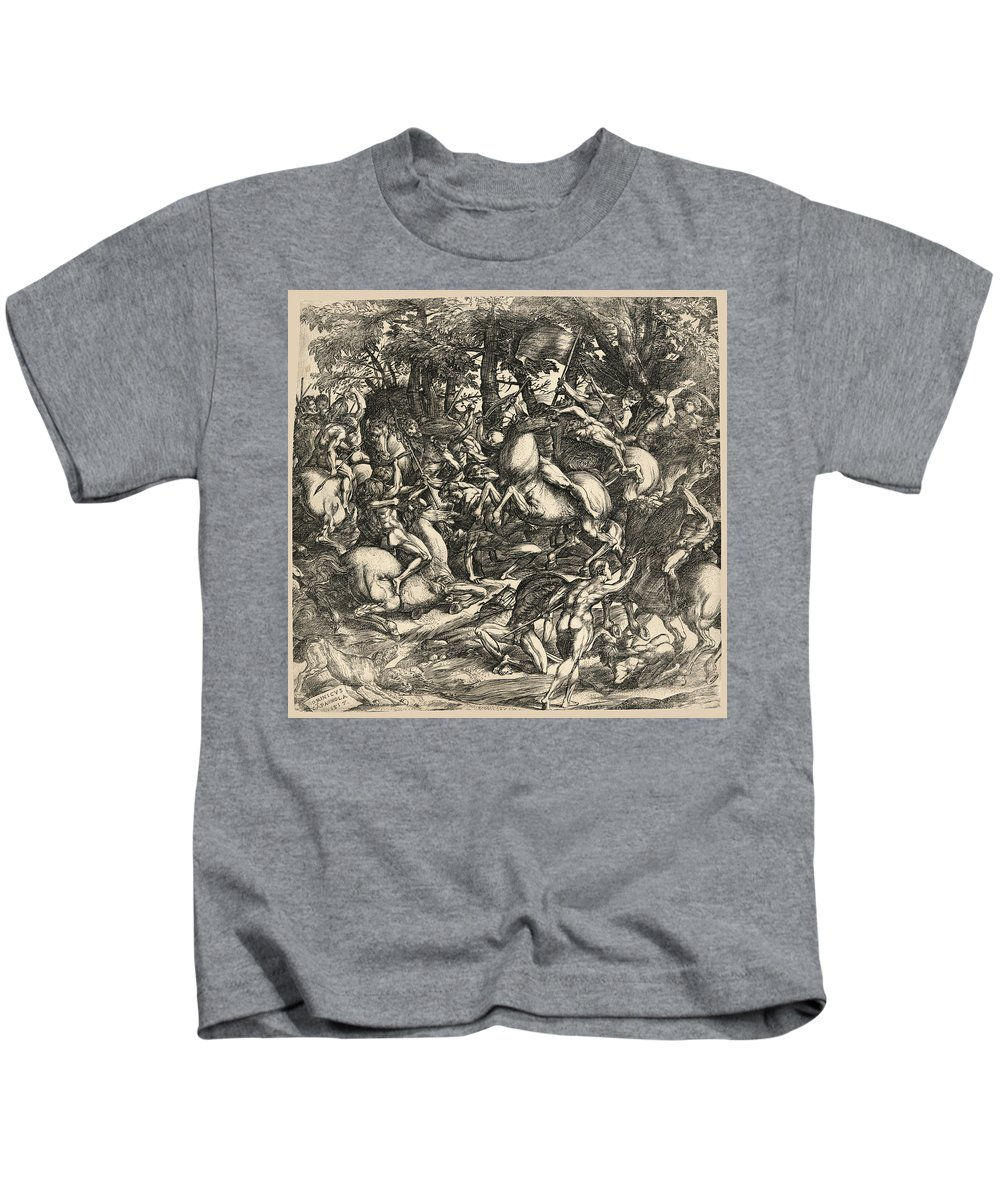Domenico Campagnola Kids T-Shirt featuring the drawing Battle Of Nude Men by Domenico Campagnola