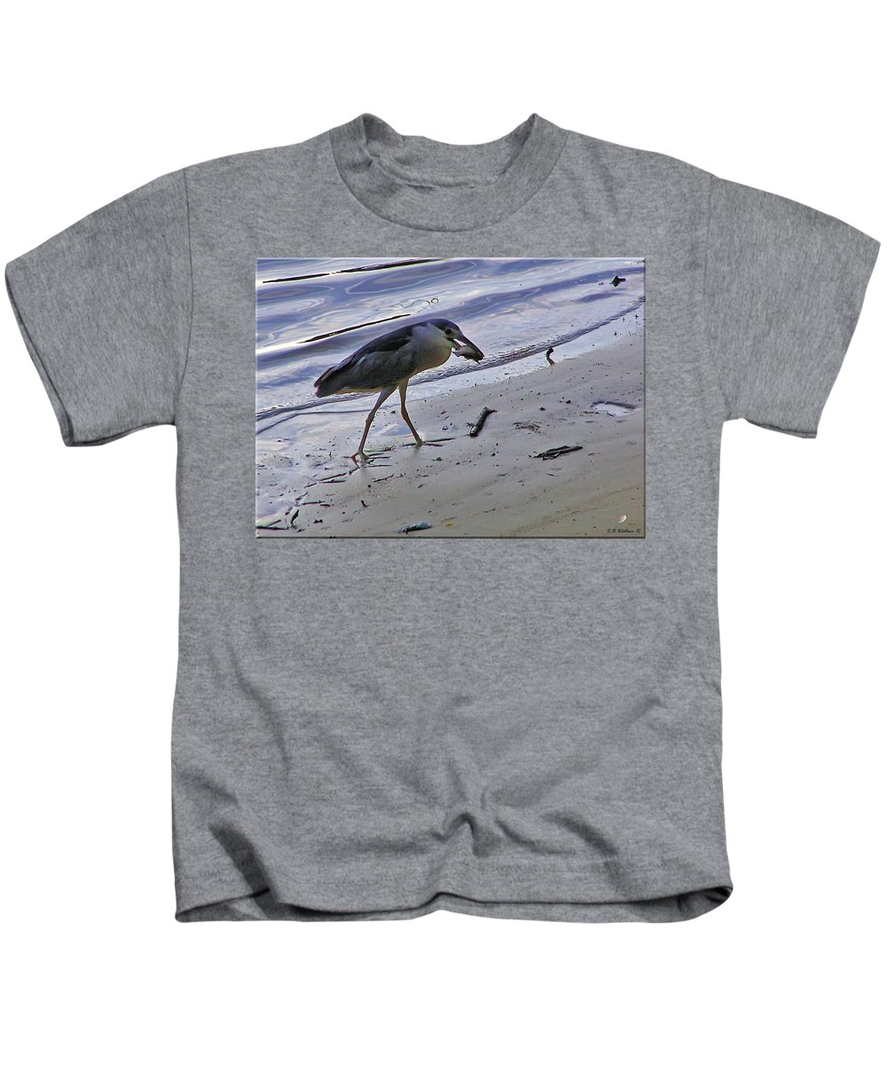 2d Kids T-Shirt featuring the photograph Black Crowned Night Heron by Brian Wallace