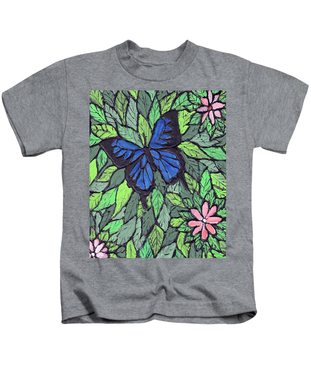 Butterfly Kids T-Shirt featuring the painting Blue Butterfly Two by Wayne Potrafka