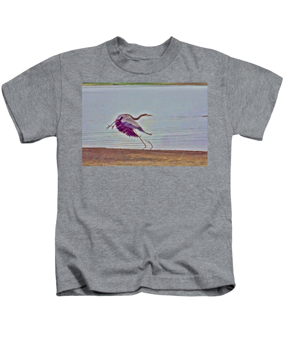 Blue Heron Kids T-Shirt featuring the photograph Blue Heron by Douglas Barnard
