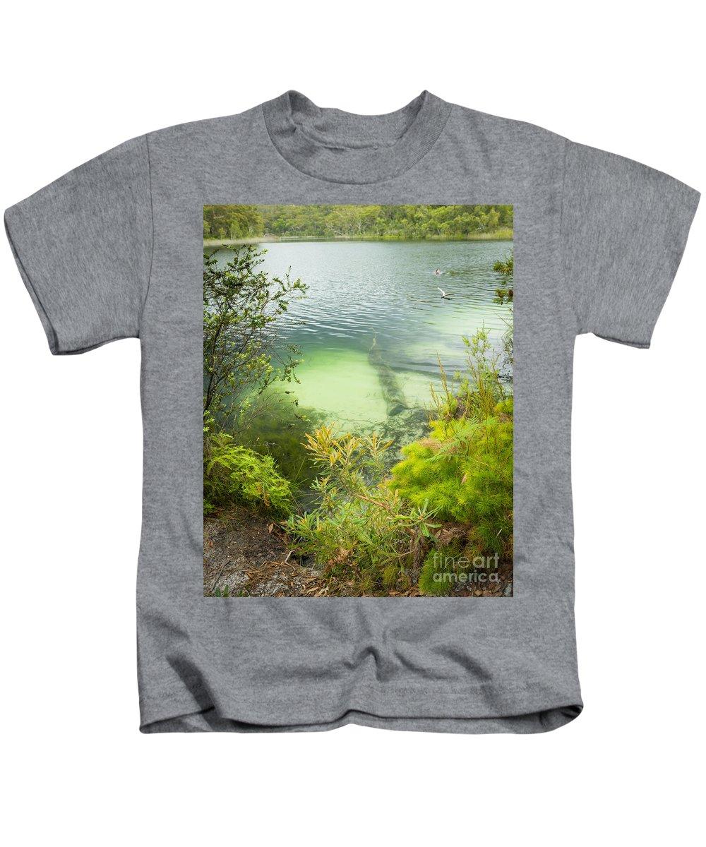 Blue Lake Kids T-Shirt featuring the photograph Blue Lake Stradbroke Island by Tim Hester